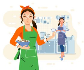 Housewife cartoon illustration vector