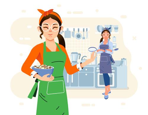 Housewife cartoon illustration vector