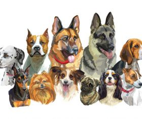 Human pal dog watercolor painting vector