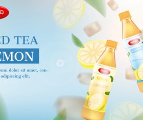 Ice tea advertising brand design vector