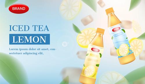 Ice tea advertising brand design vector