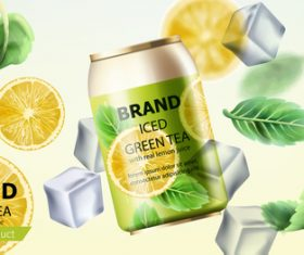 Iced green tea vector