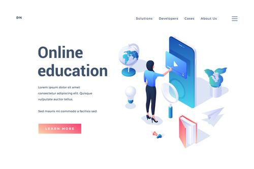 Illustration online education vector
