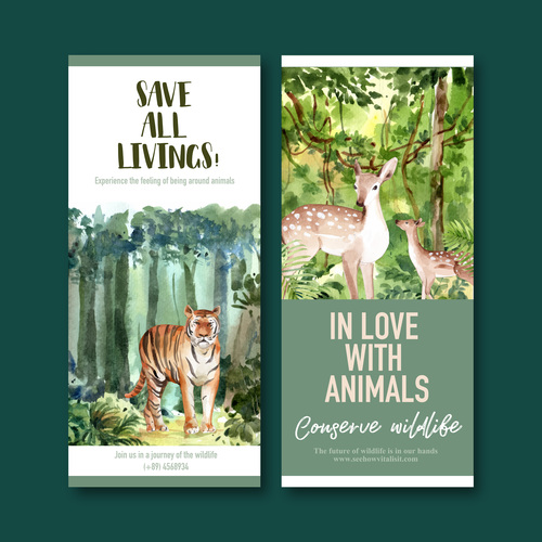In love with animals flyer design vector
