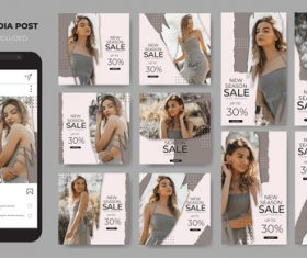 Instagram template sales fashion vector