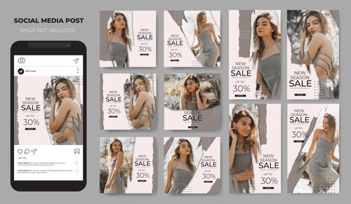 Instagram template sales fashion vector
