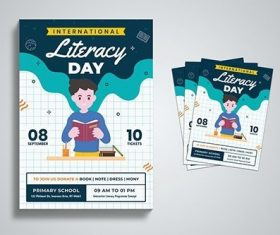 International Literacy Day Flyer Template vector