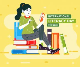International literacy day cartoon illustration vector