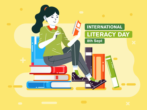 International literacy day cartoon illustration vector