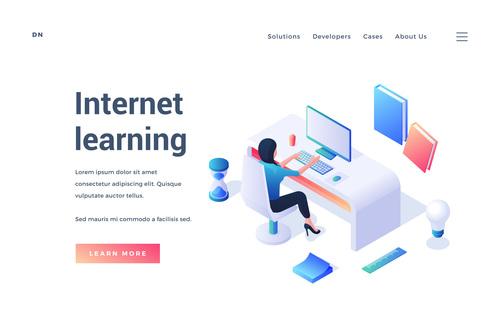 Internet learning illustration vector