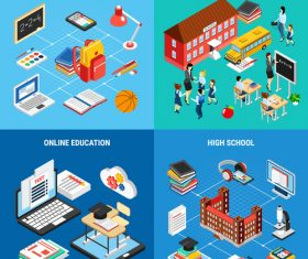 Isometric education banners vector set
