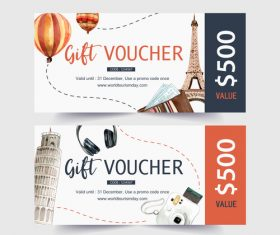 Italy travel voucher banner vector