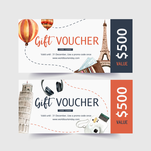 Tourism voucher design with Eifel Tower, Leaning Tower of Pisa w