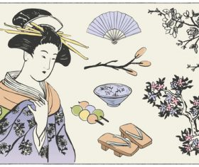 Japanese culture illustration vector