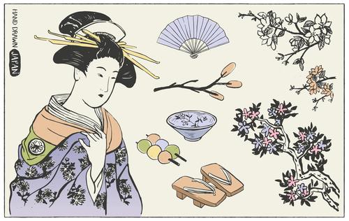 Japanese culture illustration vector