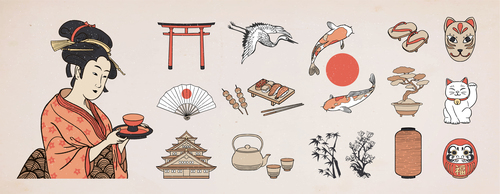 Japanese traditional culture illustration vector