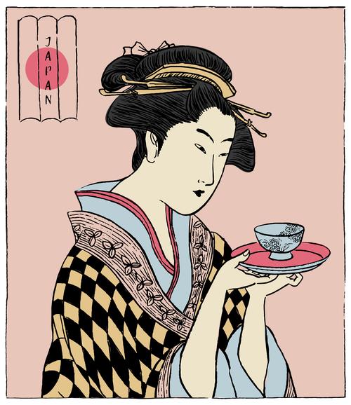 Japanese woman design elements vector