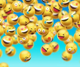 Laugh and cry social emoticons background vector