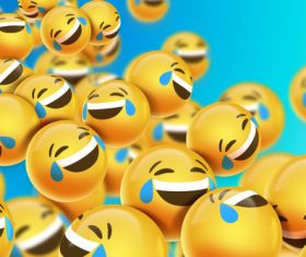 Laugh with tears emoji background vector