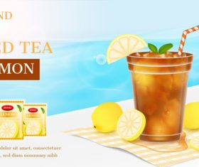 Lemon ice tea advertising brand design vector