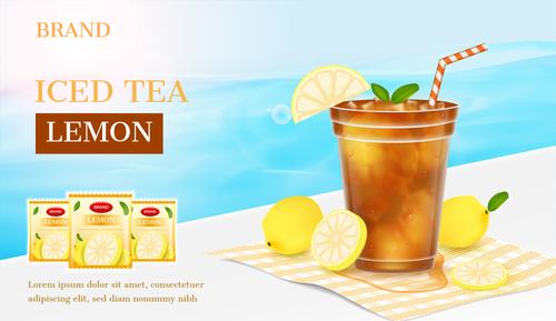 Lemon ice tea advertising brand design vector