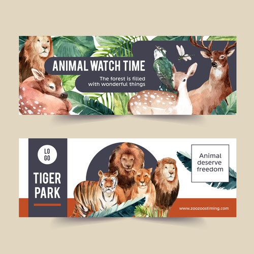 Lion tiger zoo poster banner vector