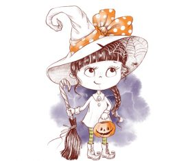 Little girl halloween watercolor illustration vector