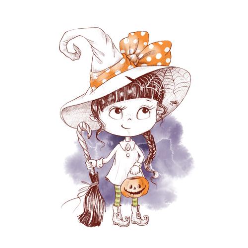 Little girl halloween watercolor illustration vector