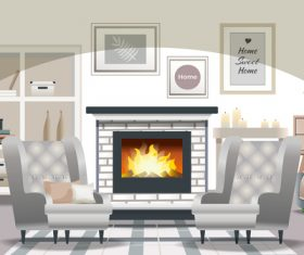 Living room fireplace card vector