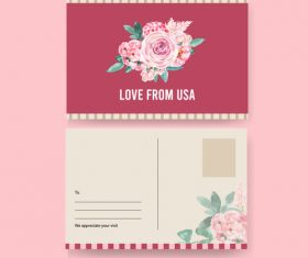 Love from usa postcard cover vector