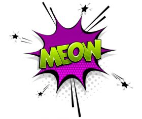 MEOW comic bubble text vector