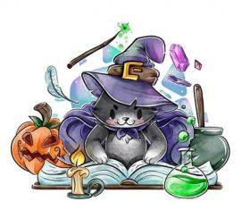 Magician watercolor illustration vector