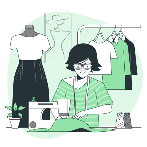 Making clothes cartoon background vector