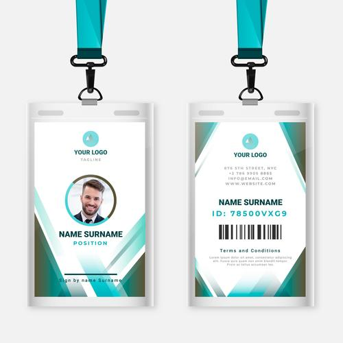 Male identification document stationery vector