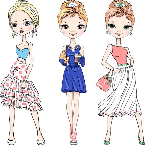 Manga fashion girl vector