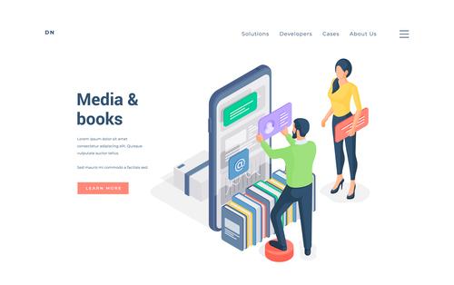 Media books illustration vector