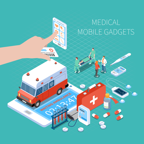 Medical mobile gadgets isometric vector illustration