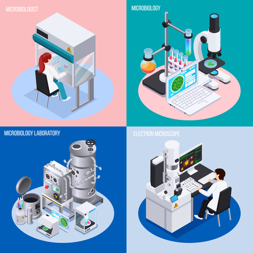 Medical research equipment vector