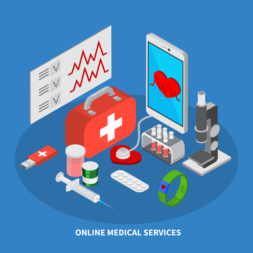 Medical services isometric vector illustration