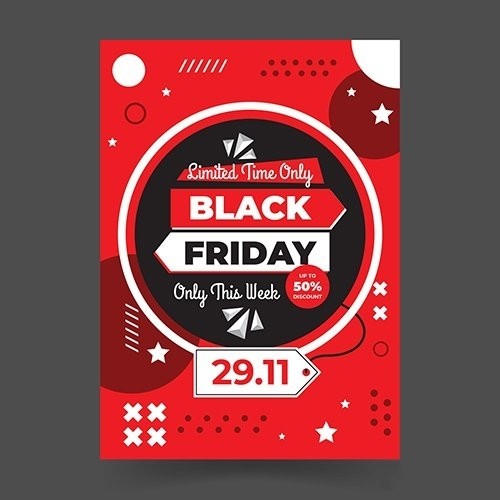 Memphis Style Black Friday Flat Design Flyer Template vector