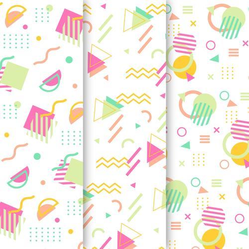Memphis geometric pattern background vector