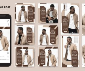 Men's fashion instagram template sale vector