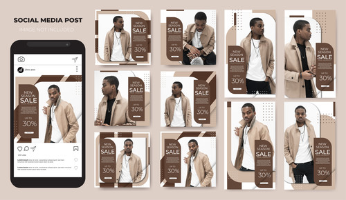 Mens fashion instagram template sale vector