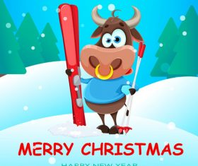 Merry christmas 2021 new year cartoon vector