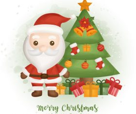 Merry christmas and santa background vector