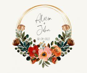 Minimalistic wedding invitation vector