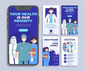 Mobile app thank doctor and nurse cartoon vector