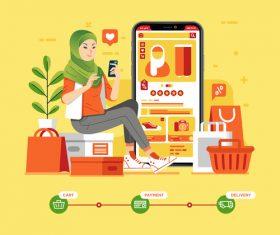 Mobile shopping cartoon illustration vector