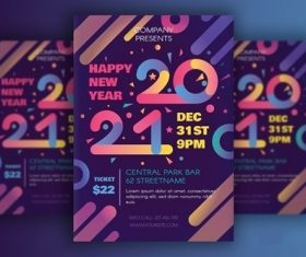 Modern Happy 2021 New Year Poster vector