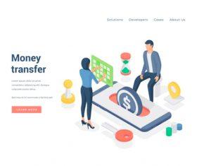 Money transfer illustration vector